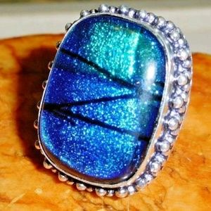 🌟SOLD🌟 Dichroic Glass 925 Silver Ring Size 9.5